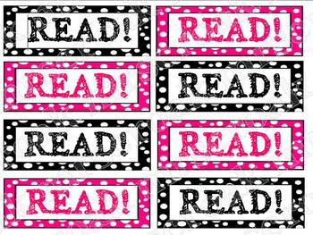 Bookmarks: black & hot pink polka dots