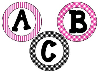 Black & Hot Pink Themed 4 inch Circular Bulletin Board Letters