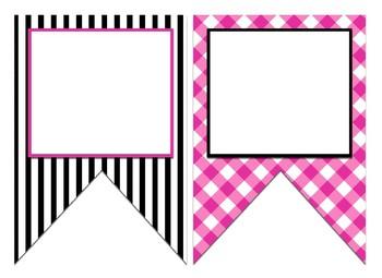 Black & Hot Pink Themed Editable Bulletin Board Banner