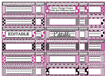 Black & Hot Pink Themed editable nameplates
