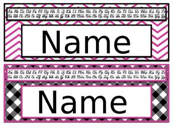 Black & Hot Pink Themed editable nameplates