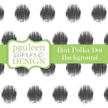 Black Ikat Polka Dot Background