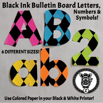 Black Ink Bulletin Board Letters - Argyle 1A