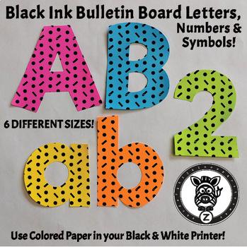 Black Ink Bulletin Board Letters - Dot-Dash 1A