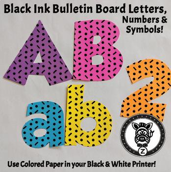 Black Ink Bulletin Board Letters - Dot Dash 1B