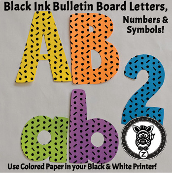 Black Ink Bulletin Board Letters - Dot Dash 1E