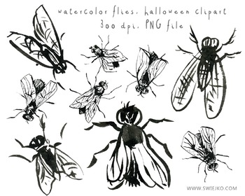 Black Ink Flies, Halloween Clipart, Digital Watercolour, s