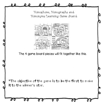 Homophones, Homonyms, Homographs Activity in black and white with game board