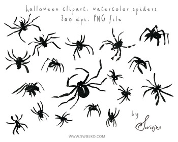Black Ink Spiders, Halloween Clipart, Digital Watercolour, scary, witch, autumn