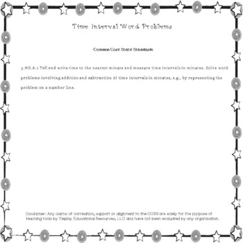 Telling Time Interval Math Word Problems at the Circus~Black Ink~ No Prep