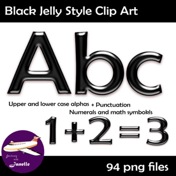 Black Jelly Alphabet Clip Art + Numerals, Math Symbols & Punctuation