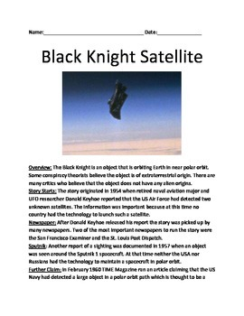 Black Knight Satellite - extraterrestrial satellite information facts questions
