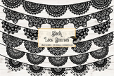 Black Lace Banners Clipart