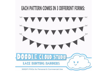 Black Lace Burlap Bunting Banners Cliparts, multiple Dark Gothic lace texture