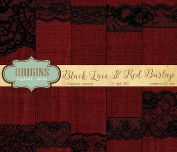Black Lace and Red Burlap Digital Paper Textures Backgrounds