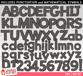 Black Letters and Numbers Clip Art