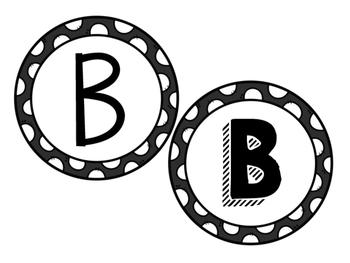 Black Letters in Black Polka Dots
