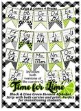 Black & Lime Green themed print and cursive Alphabet banner