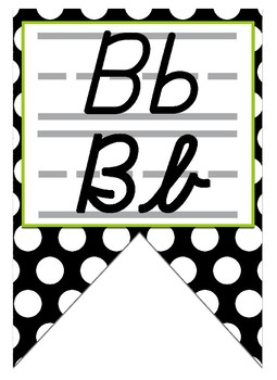 Black & Lime Green themed print and cursive Alphabet banner