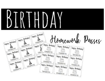 Black Line Birthday Homework Pass