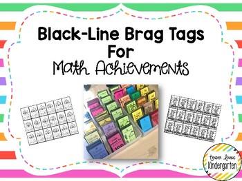 Black-Line Brag Tags for Math Achievements