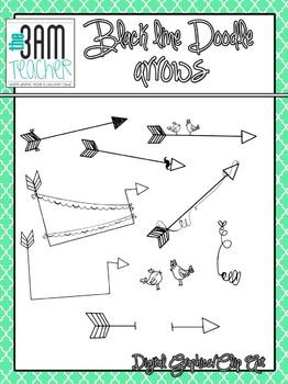 Black Line Doodle Arrows Clip Art Set