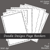 Black Line Doodle Page Borders Clip Art for TPT Sellers