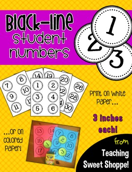 Black-Line Student Numbers - 3 Inches Each!