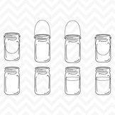 Clipart - Black Line Vintage Mason Ball Jars