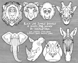 Black Line Zoo Animal Clipart, Hand Drawn Safari Animal Line Drawings