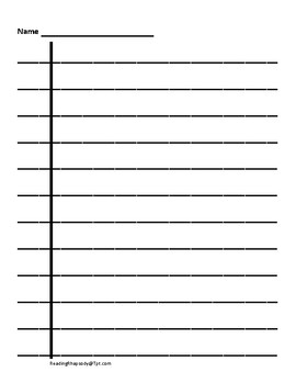Black Lined Handwriting Paper for Visually Impaired