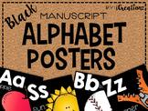 Black Manuscript Alphabet Posters