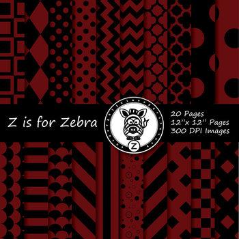 Black / Maroon dual tone Digital Paper Pack  - CU ok { ZisforZebra}