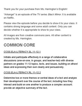 Black Mirror Arkangel Worksheets & Group Discussion (Podcast or Talk Show)