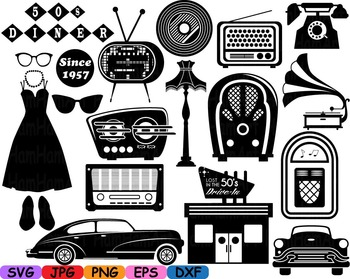Black Monogram 50's Retro Vintage radio music sport cars Cutting clip art-117s