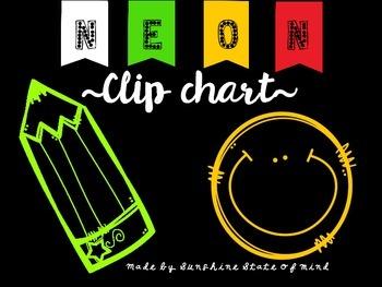Black & Neon Behavior Clip Chart