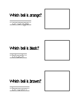 Write, Find, Graph, Read, Illustrate Sight Words BLACK BROWN ORANGE