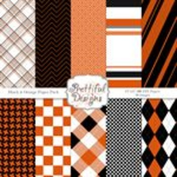 Black Orange Paper Pack by Prettiful Designs