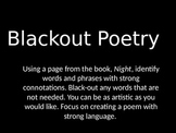 Black Out Poetry Using Night by Elie Wiesel