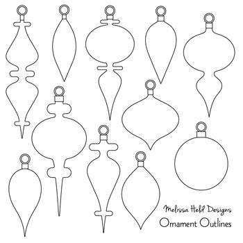 Black Outline Christmas Ornaments Digital Clipart