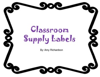Black Outline Supply Labels