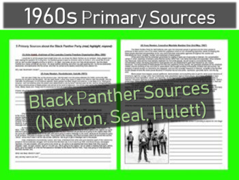Black Panther Document of various Primary Sources,with guiding Questions