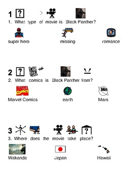 Black Panther - Movie Comic - picture supported text lesson review visuals