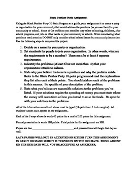 Black Panther Party Assignment & Activities