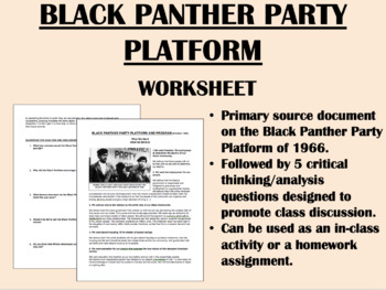 Black Panther Party Platform - 1960s Civil Rights - US History/APUSH