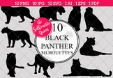 Black Panther Silhouettes Clipart Clip Art(AI, EPS, SVGs, JPGs, PNGs, PDF)