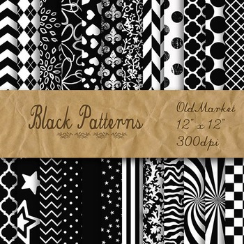 Black Pattern Designs - Digital Paper Pack - 24 Different Papers - 12 x 12