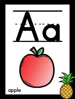 Black Pineapple Themed Alphabet
