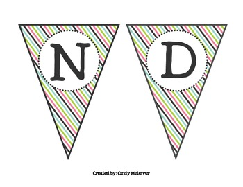 Black, Pink, Green, & Blue Striped Welcome Banner