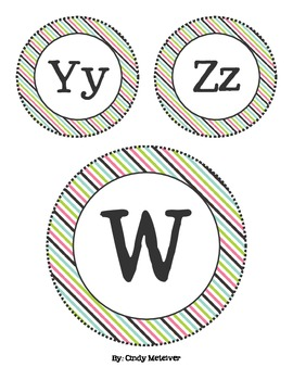 Black, Pink, Green, & Blue Striped Word Wall Letters